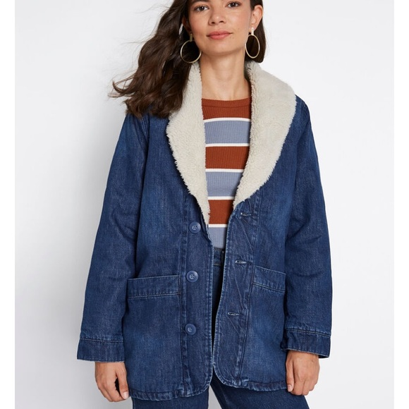 Rolla's Denim Sherpa Peacoat Jacket